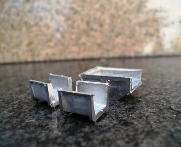 Zubehör Abfallcontainer 3x aus Weißmetall