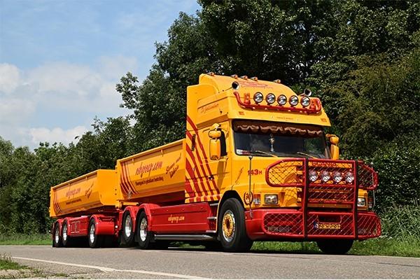 Scania 143H Hauber Wechsellader-Hängerzug mit 15m³ Mulden - VSB Groep - NL