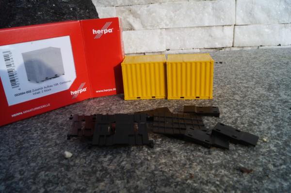 Aufbau 10 ft. Container mit Grundplatte, gelb, 2 Stück