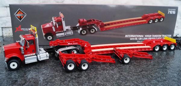 International HX520 3achs mit 3achs Tieflader und 2 heck-Dolly´s, rot